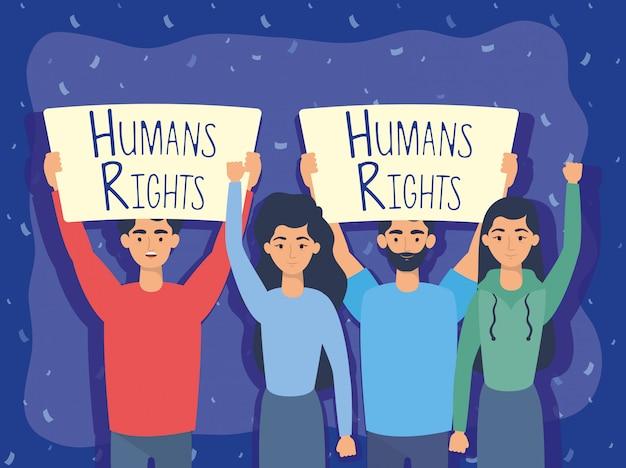 Gruppe der jungen leute mit menschenrechtsaufklebervektor-illustrationsdesign