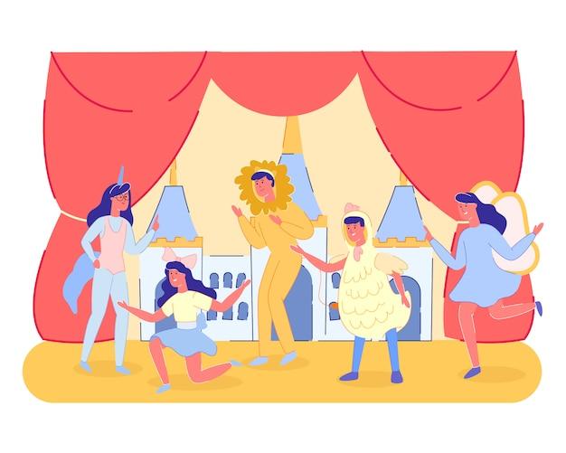 Gruppe der kindertheater-leistungs-show auf szene