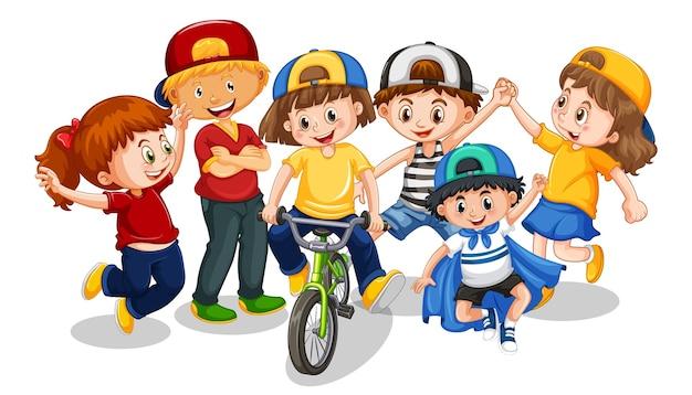Gruppe der kleinen kinderkarikaturfigur auf weißem hintergrund