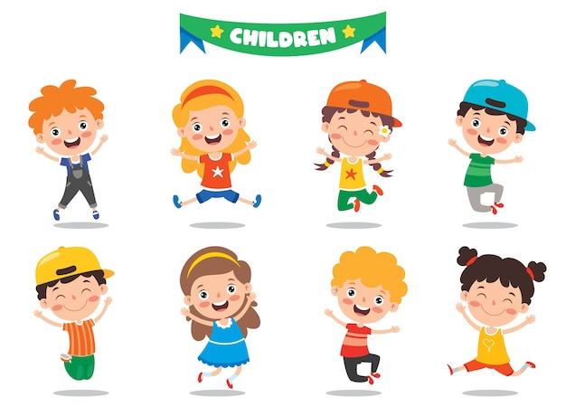 Gruppe der lustigen kinder, die aufwerfen