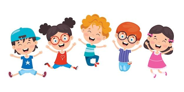 Gruppe der lustigen kinder, die springen Premium Vektoren