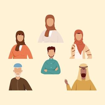 Gruppe der muslimischen gemeinschaft mit sechs personen