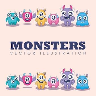 Gruppe der netten monsterkarte