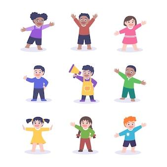 Gruppe der niedlichen kinderkarikaturfigur mit flacher entwurfsillustration. süße kinder in verschiedenen posen