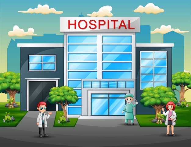 Gruppe des ärzteteams in der uniform vor krankenhaus
