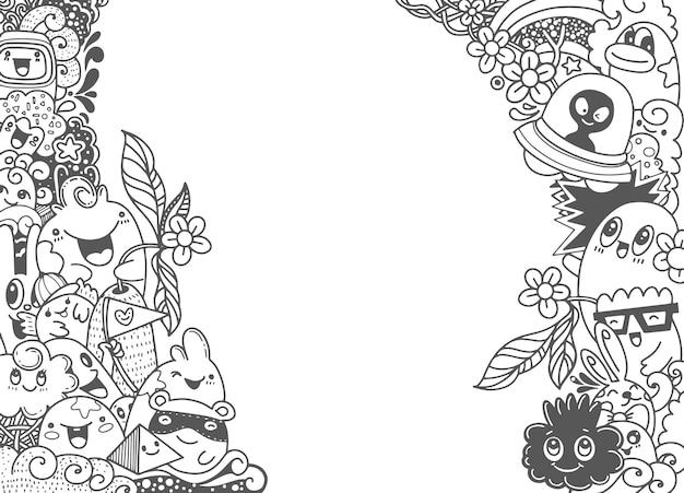 Gruppe des multikulturellen glücklichen netten monsters für ihr design. vorlage für werbebroschüre.