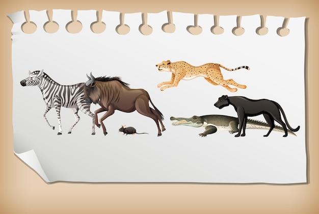 Gruppe des wilden afrikanischen tieres auf papier