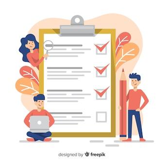 Gruppe, die riesigen checklistenhintergrund überprüft