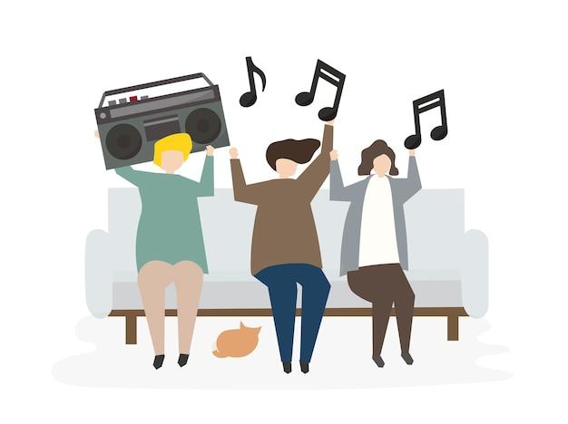 Gruppe erläuterte freunde, die musik hören