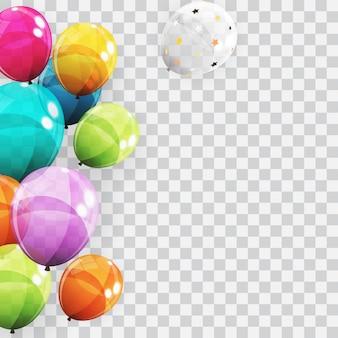 Gruppe farbglatter helium steigt hintergrund im ballon auf. satz luftballons für geburtstag, jahrestag, feier-partydekorationen