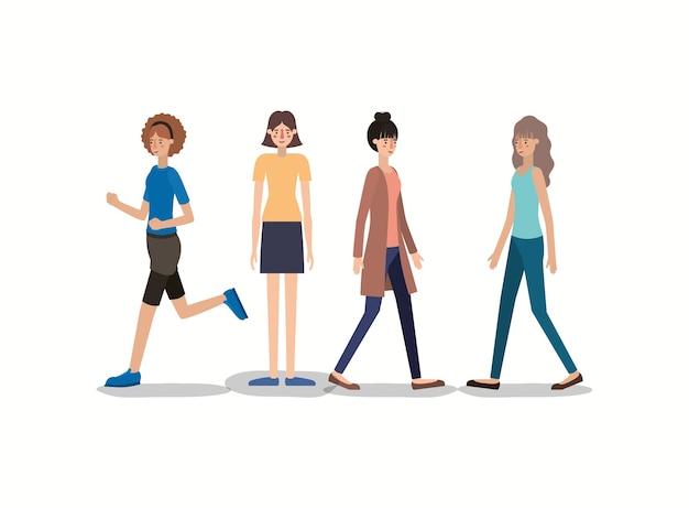 Gruppe frauen, die charaktere gehen und laufen