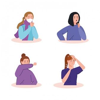 Gruppe frauen krank von coronavirus 2019 ncov