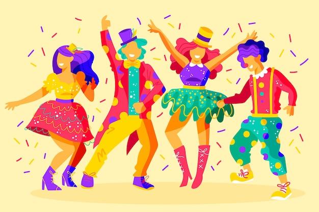 Gruppe freunde, die am karneval tanzen