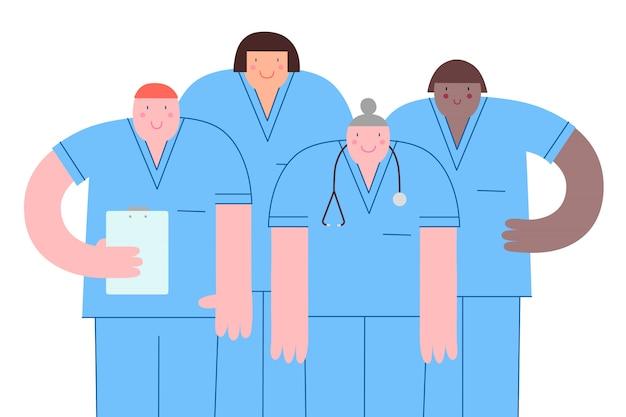 Gruppe freundlicher und lächelnder krankenschwestern