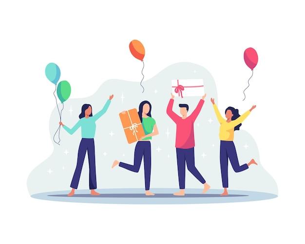 Gruppe fröhlicher menschen, die geburtstagsfeier feiern. glückliche menschen erhalten eine geschenkbox. frauen und männer, die geschenk und ballons halten, alles gute zum geburtstagkonzept. vektorillustration in einem flachen stil