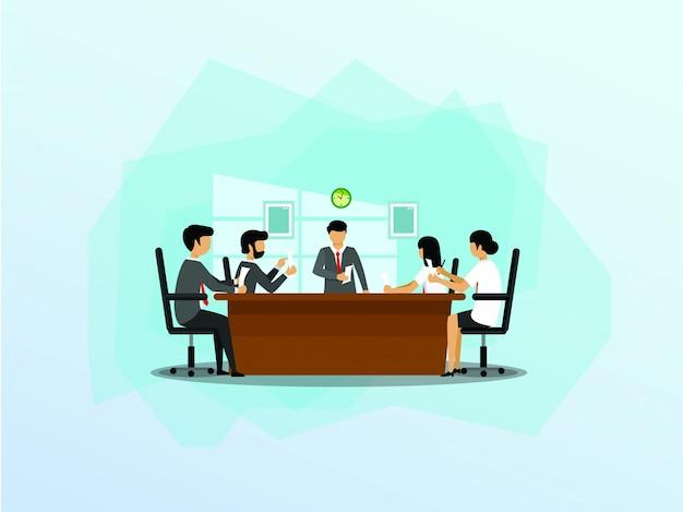 Gruppe geschäftsleute, die an der darstellung im büro teilnehmen