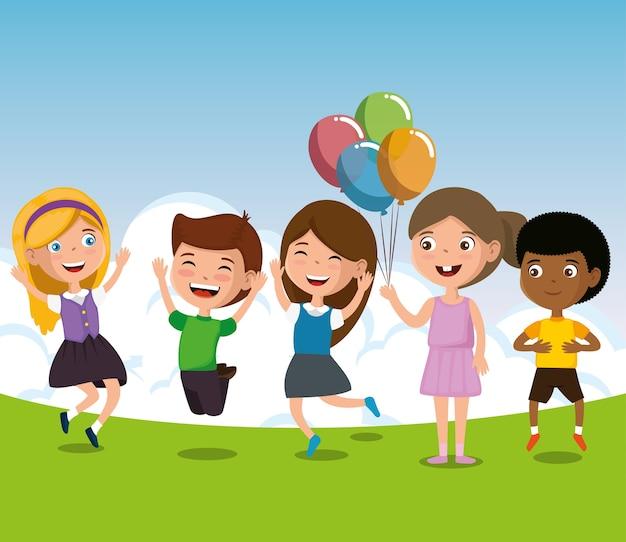 Gruppe glückliche kindercharaktere