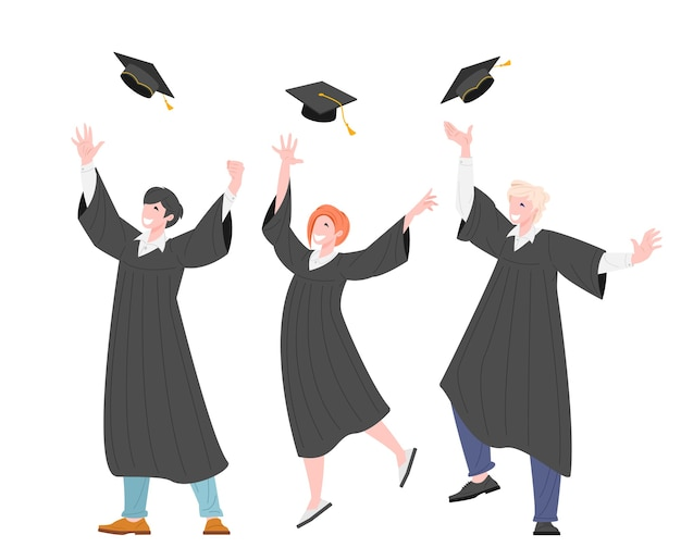 Gruppe glücklicher absolventen studenten werfen absolventenkappe auf