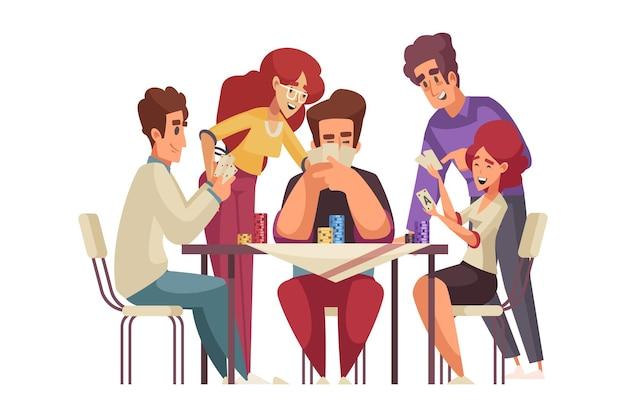 Gruppe glücklicher freunde, die pokerkarikatur spielen