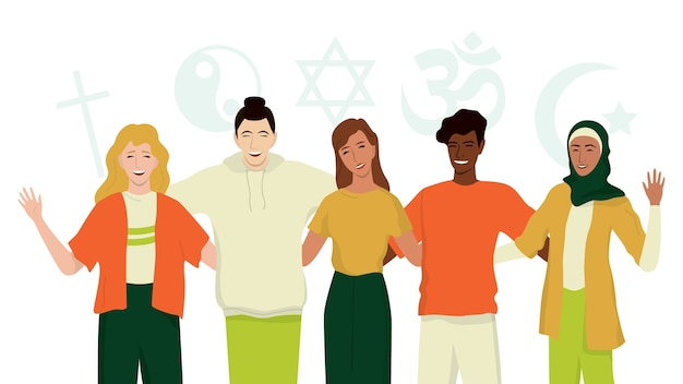 Gruppe glücklicher freunde verschiedener religionen. islam, judentum, buddhismus, christentum, hindu, taoist. religionsvielfalt und gleichberechtigung für alle. .