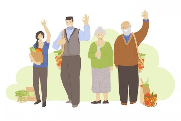 Gruppe glücklicher fröhlicher menschen, die keine abfallprodukte in händen halten - taschen, küchen- und schönheitsprodukte, und ok-zeichen zeigend. zero waste lifestyle-konzept mit menschen unterschiedlichen alters