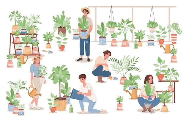 Gruppe glücklicher junger leute, die sich um heimische pflanzen kümmern
