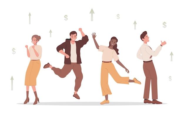 Gruppe glücklicher lächelnder menschen, die tanzen und sich über finanzen freuen