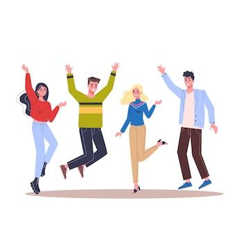 Gruppe glücklicher menschen springen zusammen. idee von erfolg und feier. positive firma. illustration im cartoon-stil