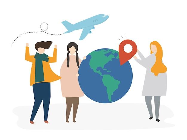 Gruppe illustrierte freunde, die für eine reise planen