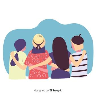 Gruppe jugendleute, die zusammen umarmen