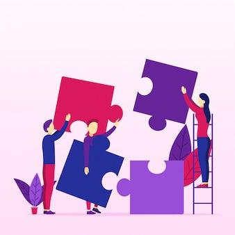 Gruppe junge geschäftsleute, die problem mit puzzlespiel lösen