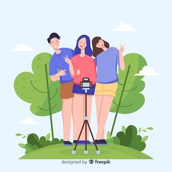 Gruppe junge leute, die für ein foto aufwerfen
