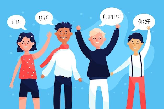 Gruppe junge leute, die in den verschiedenen sprachen sprechen