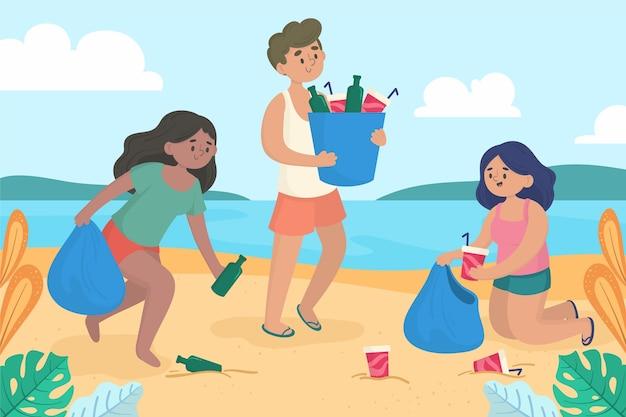 Gruppe junge leute, die plastikabfall auf ufergegend säubern