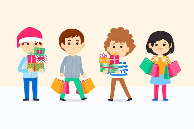 Gruppe junge leute, die weihnachtsgeschenke kaufen