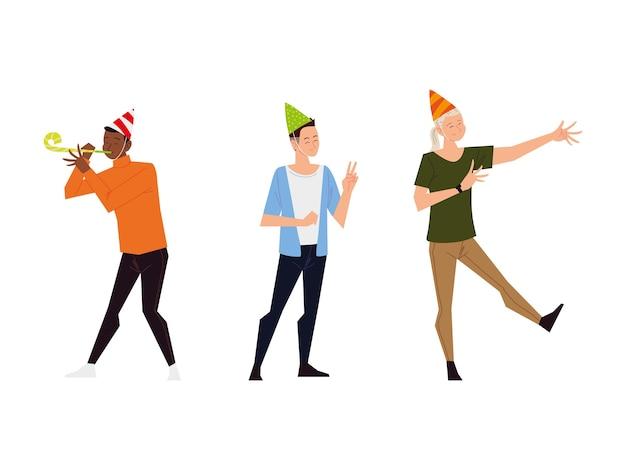 Gruppe junge männer und frau mit partyhüten, die das tanzen feiern