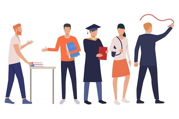 Gruppe junge männliche und weibliche kursteilnehmer mit lehrbüchern