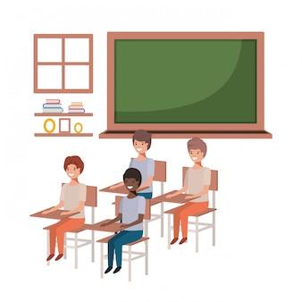 Gruppe junge studenten im klassenzimmer