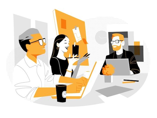 Gruppe junger berufstätiger, die im büro zusammenarbeiten