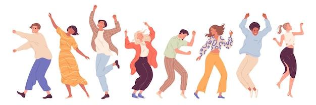 Gruppe junger, glücklicher tanzender menschen, tanzende charaktere. tanzparty, disco.