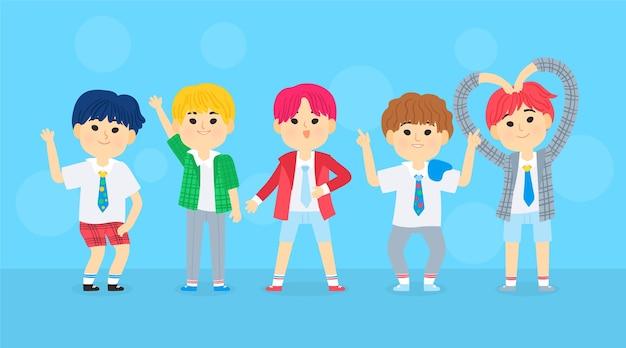 Gruppe junger k-pop-mädchen