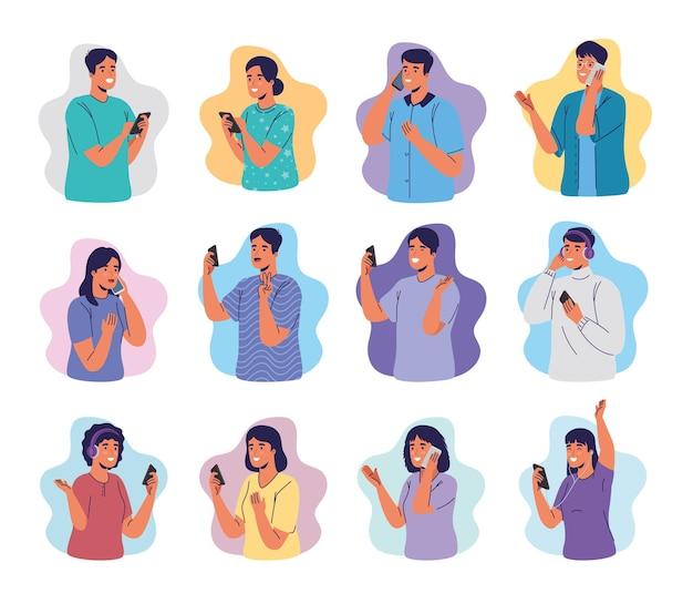 Gruppe junger leute, die smartphones benutzen