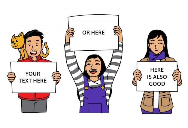 Gruppe junger leute, die zeichen halten