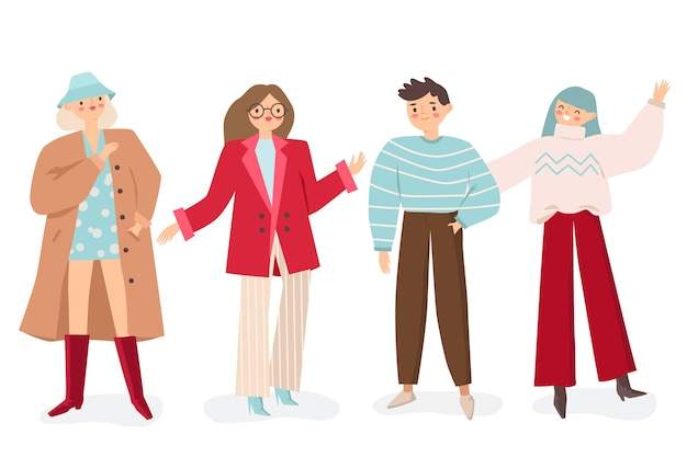 Gruppe junger leute illustrationssatz