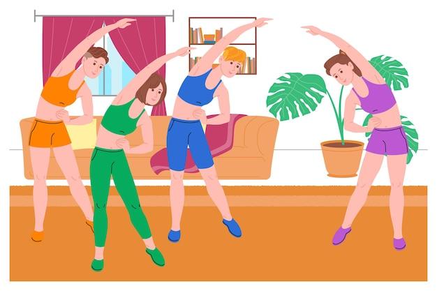 Gruppe junger mädchen, die während der quarantäne zu hause sportübungen, heimtraining und fitness machen und einen gesunden lebensstil führen. flache vektorillustration. frauen nutzen das haus als fitnessstudio.