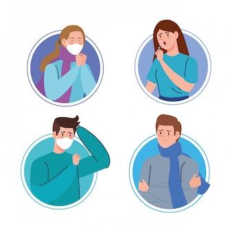 Gruppe junger menschen, die an coronavirus 2019 ncov erkrankt sind