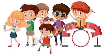 Gruppe Kinder, die Musikinstrumente spielen