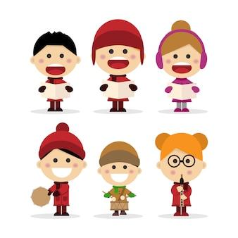 Gruppe kinder, die weihnachtslieder singen