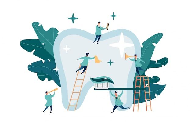 Gruppe kleine zahnärzte, die sich um große zähne kümmern