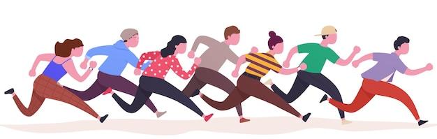Gruppe laufender menschen, bunter läufer, mann und frau in bewegung. verfolgung saisonaler verkäufe, treueprogramm. sportlicher wettbewerb miteinander.